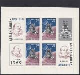 1969 LP 704 a COSMOS IV APOLLO 11 BLOC DE 4 MARCI + 4 VINIETE DIFERITE MNH, Nestampilat