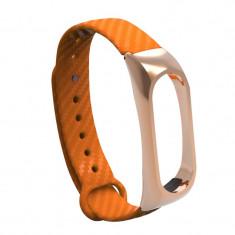 Curea bratara Mi Band 2 din silicon cu textura fibra de carbon, Portocaliu