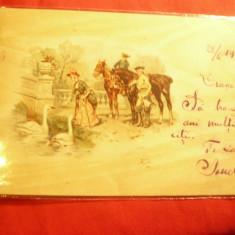 Ilustrata  - Femeie, Cavaleri ,cai ,lebede ,goarna55 ,5bani spic grau ,Iasi-Buc