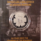150 DE ANI DE LA INFIINTAREABIBLIOTECII ROMANE-MONEDA JUBILIARA DE ARGINT