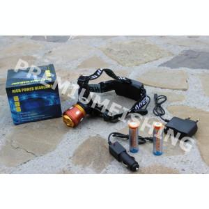 Lanterna Profesionala Led Cree Frontala Q5 cu Incarcator Auto Casa + 2 x 18650