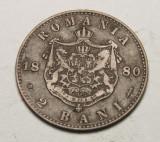 2 bani 1880 Eroare - dubla batere, riduri la ureche si matrita crapata