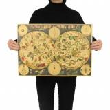 Poster vintage Zodiac Vechi hartie Kraft dimensiune 51.5x36cm