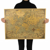 Poster vintage Minunile Lumii hartie Kraft dimensiune 68,5x51,5 cm