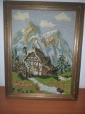Tablou cusut –goblen -peisaj, rama lemn, fara sticla protectie