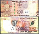 !!!  SWAZILAND  -  200  EMALANGENI  2017 (2018)   - P NEW  - UNC