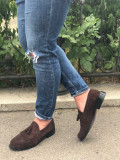 Pantofi Piele Naturala Hule Maro Inchis