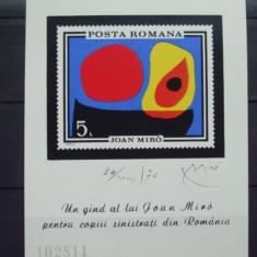 Romania 1970 - PICTURA JOAN MIRO colita nestampilata, D28