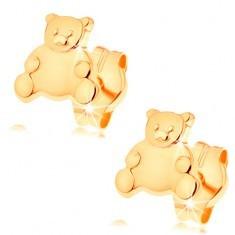 Cercei din aur 585 - ursuleț adorabil cu burtă netedă, lucioasă, 14k