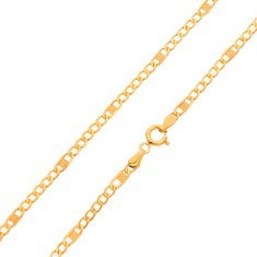 Lanț din aur 585 - zale mai mici, plate și o za mai lungă cu crestături , 550 mm