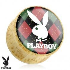 Plug pentru ureche realizat din bambus, iepurașul Playboy pe bază cadrilată