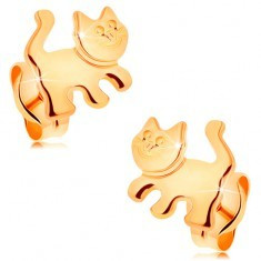 Cercei din aur galben 14K - pisică lucioasă, șurub