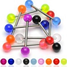 Piercing pentru limbă din oţel, cu bile colorate din acrilic
