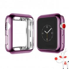 Carcasa silicon Apple Watch 42mm, husa protectie spate margini ecran, Seria 1, 2, Aluminiu, Rose Gold