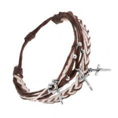 Brățară ajustabilă cu șnururi maro închis și albe, cruci din oțel
