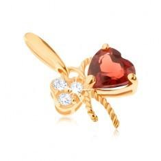 Pandantiv din aur 585 - fundă decorată cu granat roşu şi zirconii transparente