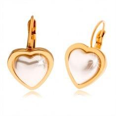 Cercei aurii din oțel, piatră albă, perlată sub formă de inimă