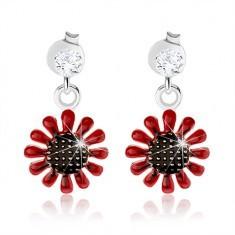 diverse culori calitate excelenta oferta specifica Cercei cu şurub, argint 925, floare care atârnă roşu cu negru ...