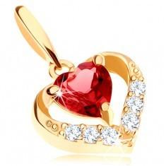 Pandantiv din aur 375 - contur inimă cu zirconii, rubin roșu sub formă de inimă