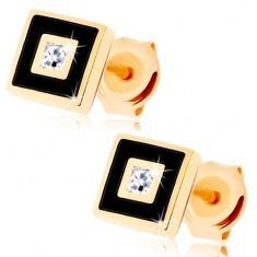 Cercei din aur 375 - pătrat ornat cu vopsea neagră, zirconiu transparent
