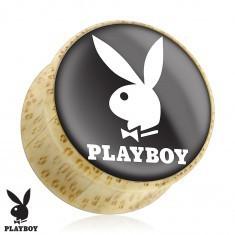 Plug pentru ureche în formă de șa realizat din lemn natural, iepurașul Playboy, bază neagră