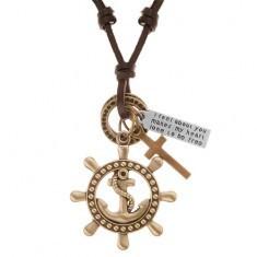 Colier din piele de culoare maro, pandantive - cârmă cu ancoră, cruce, plăcuță
