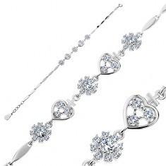 Brățară din argint 925, inimi și flori cu zirconii, elemente înguste lucioase foto