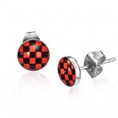 Cercei din oţel, model tablă de şah roşu şi negru