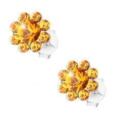Cercei din argint 925, floare strălucitoare din cristale Preciosa portocalii