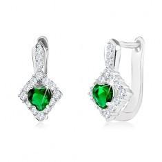 Cercei realizați din argint 925, cu stras verde în formă de inimă într-un romb transparent