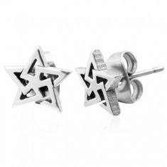 Cercei, oțel 316L, contur stea - triunghiuri, nuanță argintie