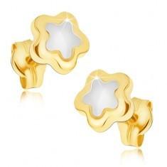 Cercei lucioși din aur 14K -floare în două culori cu cinci petale