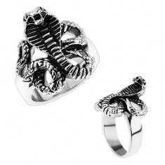 Inel masiv din oțel, brațe lucioase, șarpe patinat - cobră