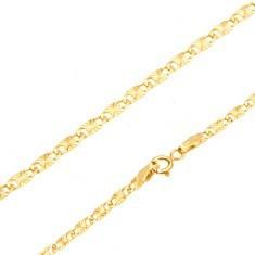 Lanț din aur galben 14K - zale plate alungite, raze canelate, 550 mm