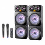 Sistem Karaoke ZEPHYR ZP 9999 2C12, 2 Boxe portabile, 12 inch, 120Wx2, Bluetoothe, Mp3, 2buc microafoane wireless, Negru