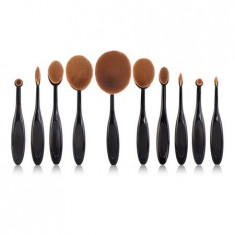 Set 10 pensule machiaj ovale Professional Beauty
