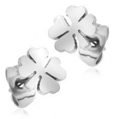 Cercei din oțel chirurgical, trifoiuri argintii