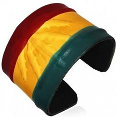 Brățară RASTA din piele – model marijuana, culorile Jamaicei