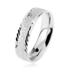Verighetă din argint 925, suprafaţă strălucitoare sablată, crestături mici înclinate