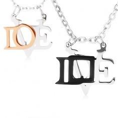 Coliere realizate din oțel 316L pentru cupluri de îndrăgostiți, pandantive lucioase, LOVE