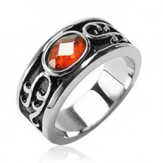 Inel din oțel inoxidabil - stras portocaliu și ornamente