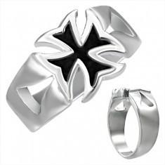 Inel masiv din oțel cu cruce malteză patinată