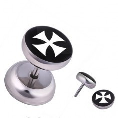 Piercing fals de ureche din oțel, cruce malteză albă