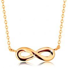 Colier din aur 585 - simbolul infinitului plat şi lucios, lanţ lucios