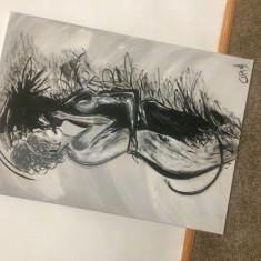 Tablou abstract pictat manual, Acrilic