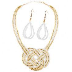 Set - colier și cercei, mărgele - aurii și albe, ornament împletit