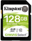 Card de memorie Kingston Canvas Select, SDXC, 128 GB, 80 MB/s Citire, 10 MB/s Scriere, Clasa 10 UHS-I U1