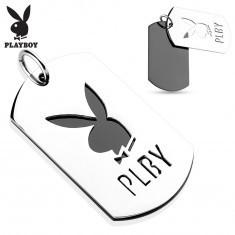 Pandantiv din oțel 316L, două plăcuțe lucioase, iepuraș Playboy, literele PLBY