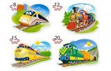 Puzzle 4 in 1 - Trenulete, 55 piese, castorland