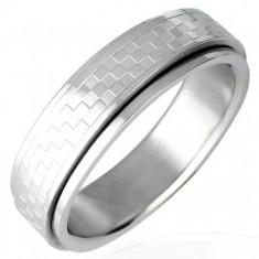 Inel din oțel inoxidabil cu parte rotativă model tablă de șah